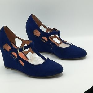 Chelsea Crew T-Strap Mary Janes Heels Royal Blue